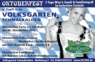Oktoberfest 2016 im VolksGarten Schmalkalden